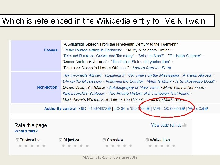 Which is referenced in the Wikipedia entry for Mark Twain ALA Exhibits Round Table,