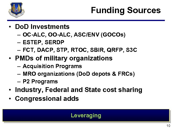 Funding Sources • Do. D Investments – OC-ALC, OO-ALC, ASC/ENV (GOCOs) – ESTEP,