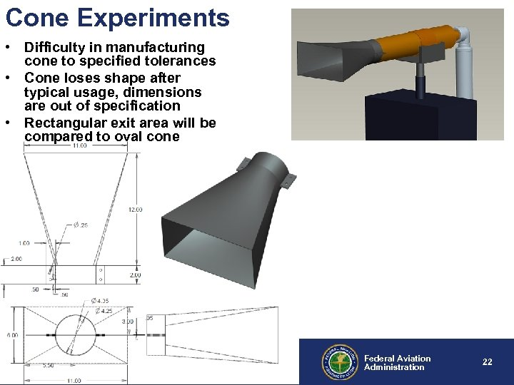 Cone Experiments • Difficulty in manufacturing cone to specified tolerances • Cone loses shape