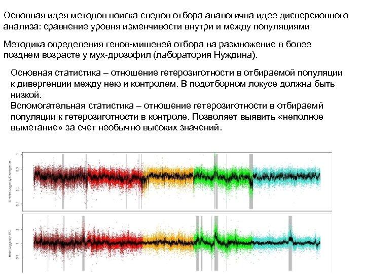Основная идея методов поиска следов отбора аналогична идее дисперсионного анализа: сравнение уровня изменчивости внутри