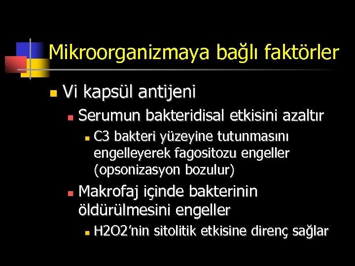 Mikroorganizmaya bağlı faktörler n Vi kapsül antijeni n Serumun bakteridisal etkisini azaltır n n