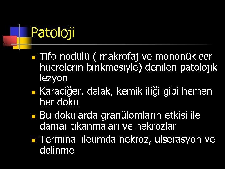 Patoloji n n Tifo nodülü ( makrofaj ve mononükleer hücrelerin birikmesiyle) denilen patolojik lezyon