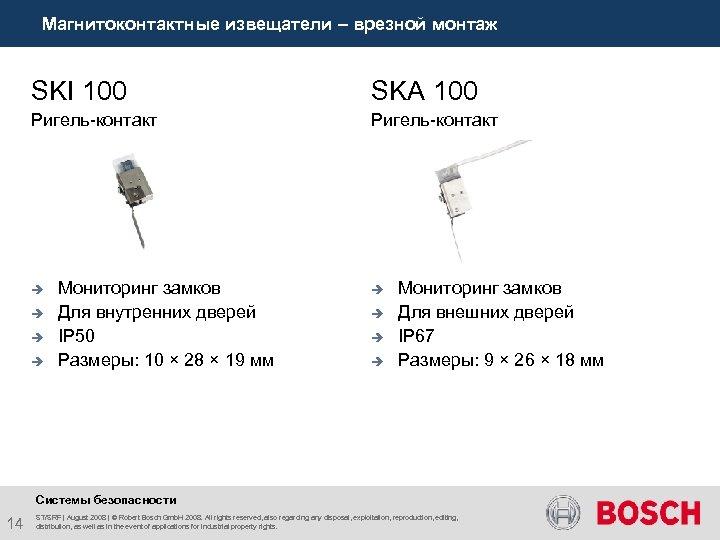 Магнитоконтактные извещатели – врезной монтаж SKI 100 SKA 100 Ригель-контакт è è Мониторинг замков