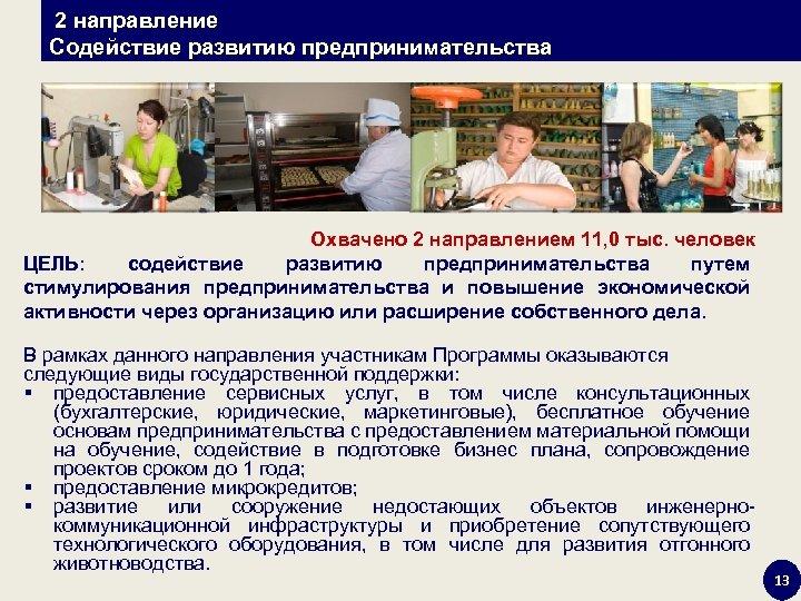 2 направление Содействие развитию предпринимательства Охвачено 2 направлением 11, 0 тыс. человек ЦЕЛЬ: