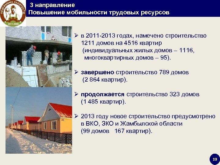 3 направление Повышение мобильности трудовых ресурсов Ø в 2011 -2013 годах, намечено строительство