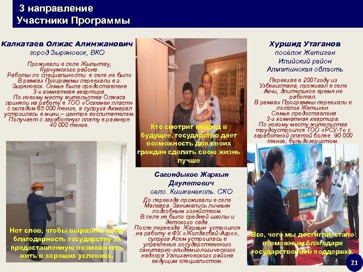 3 направление Участники Программы Хуршид Утаганов посёлок Жетиген Илийский район Алматинская область Калкатаев