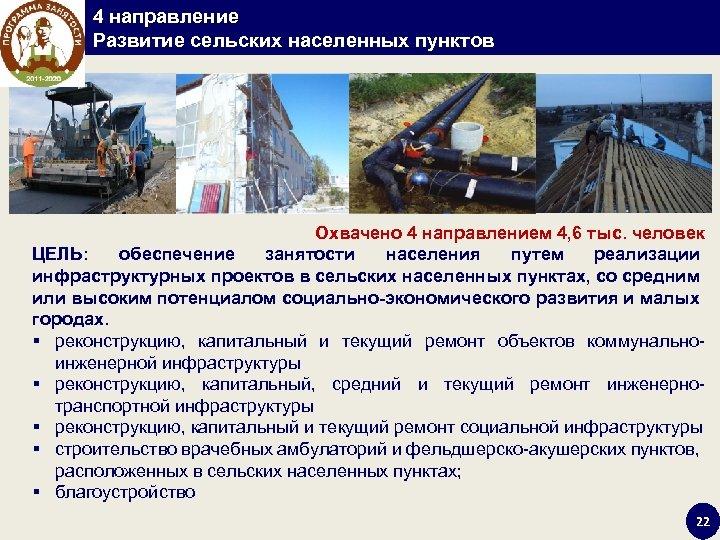 4 направление Развитие сельских населенных пунктов Охвачено 4 направлением 4, 6 тыс. человек ЦЕЛЬ: