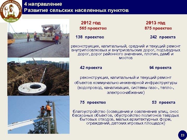 4 направление Развитие сельских населенных пунктов 2012 год 2013 год 565 проектов 875 проектов