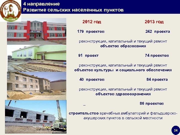 4 направление Развитие сельских населенных пунктов 2012 год 2013 год 179 проектов 242 проекта