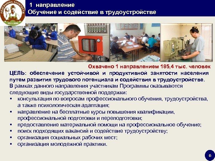 1 направление Обучение и содействие в трудоустройстве Охвачено 1 направлением 185, 4 тыс.