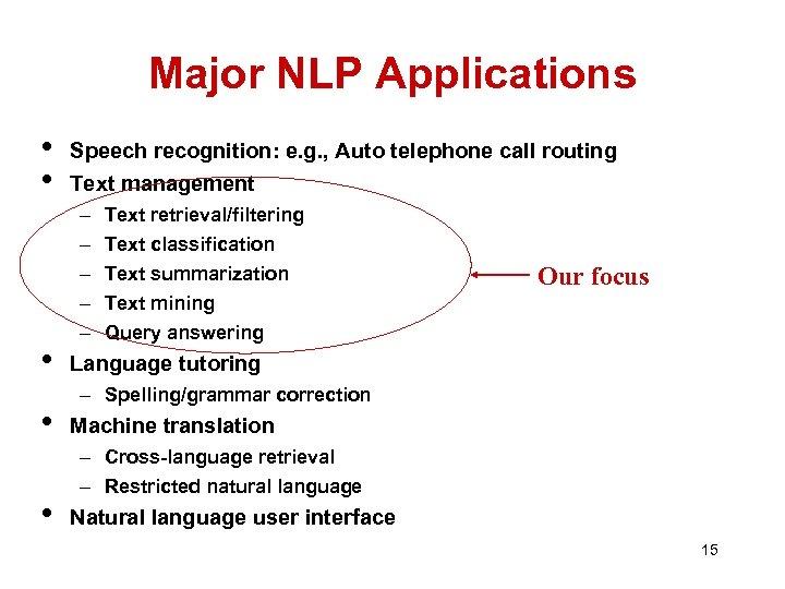 Major NLP Applications • • • Speech recognition: e. g. , Auto telephone call