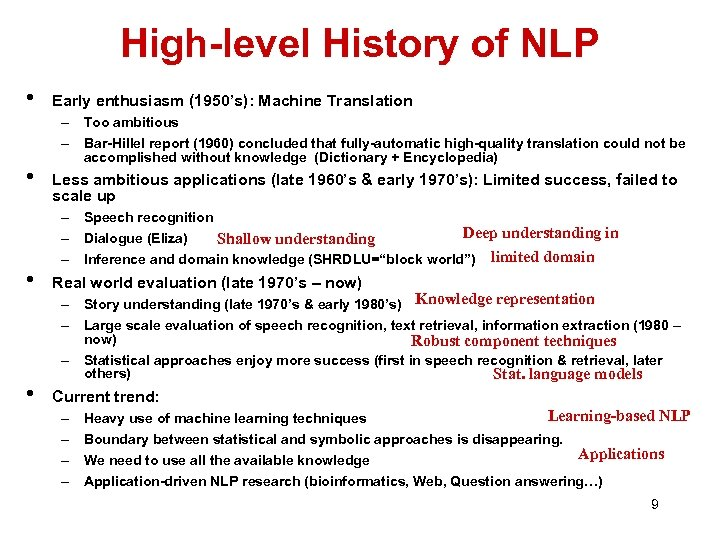 High-level History of NLP • • Early enthusiasm (1950's): Machine Translation – Too ambitious