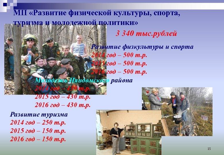 МП «Развитие физической культуры, спорта, туризма и молодежной политики» 3 340 тыс. рублей Развитие