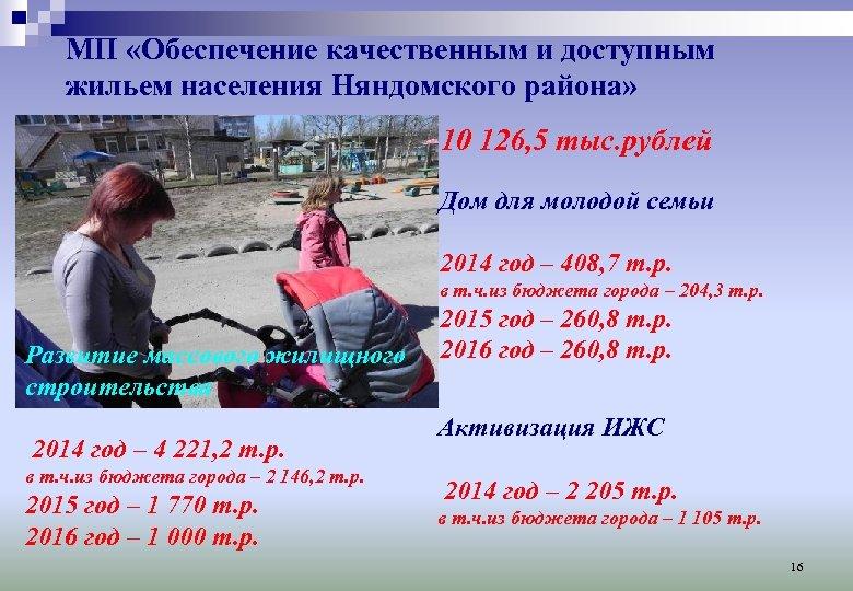 МП «Обеспечение качественным и доступным жильем населения Няндомского района» 10 126, 5 тыс. рублей