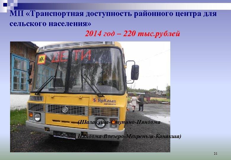 МП «Транспортная доступность районного центра для сельского населения» 2014 год – 220 тыс. рублей