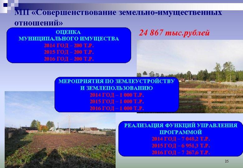 МП «Совершенствование земельно-имущественных отношений» ОЦЕНКА 24 867 тыс. рублей МУНИЦИПАЛЬНОГО ИМУЩЕСТВА 2014 ГОД –