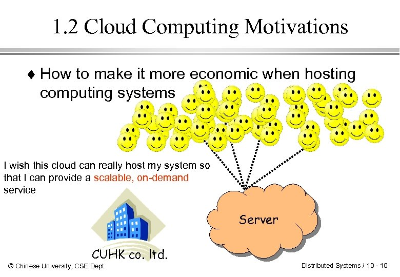 1. 2 Cloud Computing Motivations How to make it more economic when hosting computing
