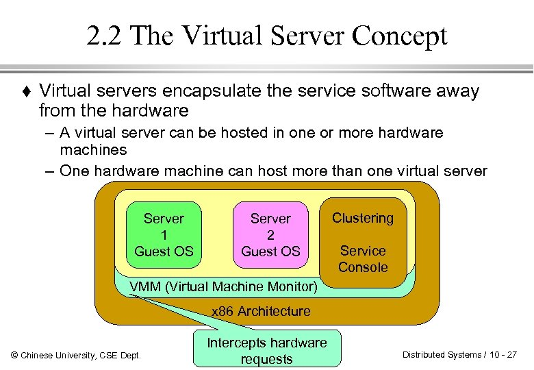 2. 2 The Virtual Server Concept Virtual servers encapsulate the service software away from