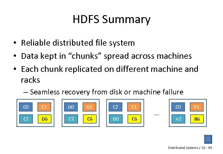 "HDFS Summary • Reliable distributed file system • Data kept in ""chunks"" spread across"