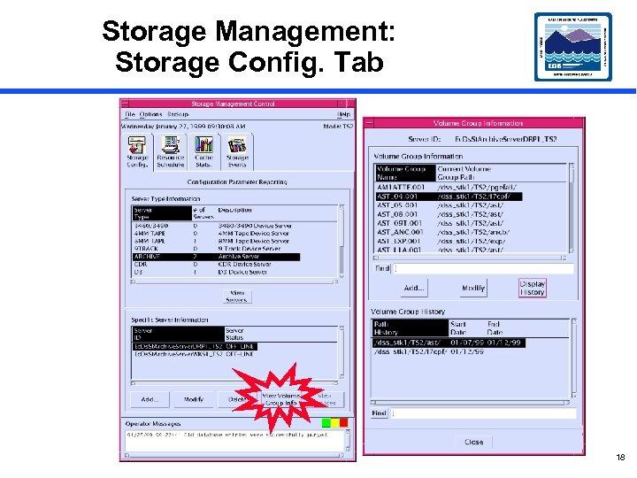 Storage Management: Storage Config. Tab 18