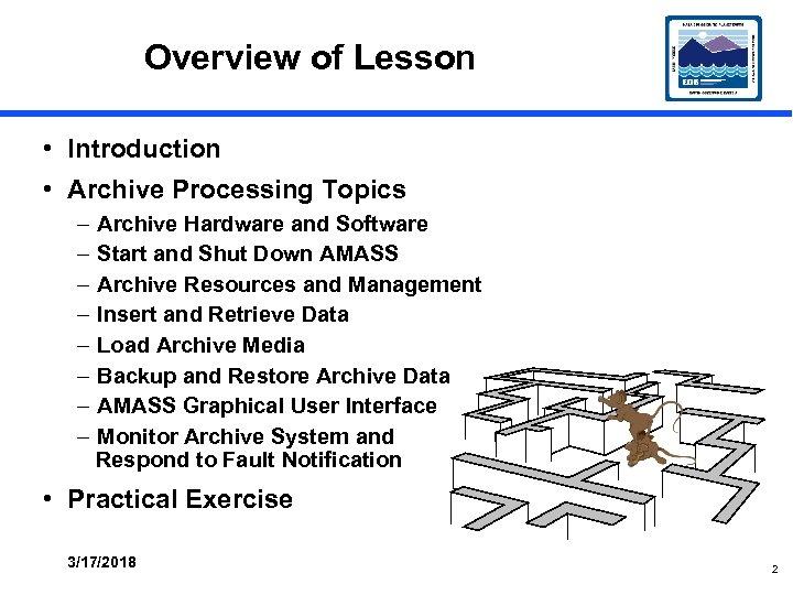 Overview of Lesson • Introduction • Archive Processing Topics – – – – Archive