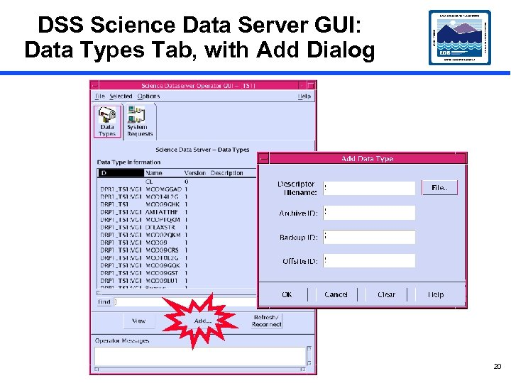 DSS Science Data Server GUI: Data Types Tab, with Add Dialog 20