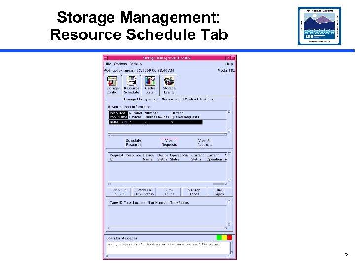 Storage Management: Resource Schedule Tab 22