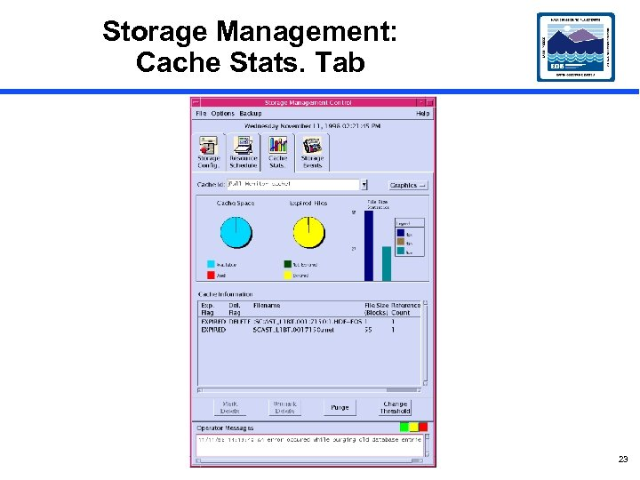 Storage Management: Cache Stats. Tab 23