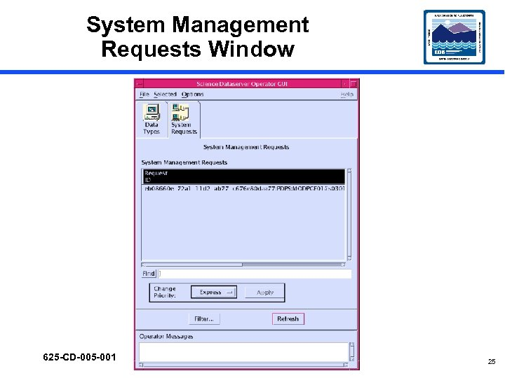 System Management Requests Window 625 -CD-005 -001 25