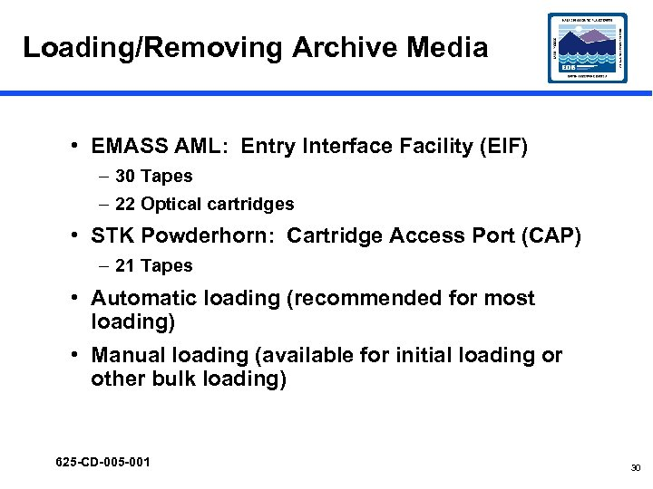 Loading/Removing Archive Media • EMASS AML: Entry Interface Facility (EIF) – 30 Tapes –