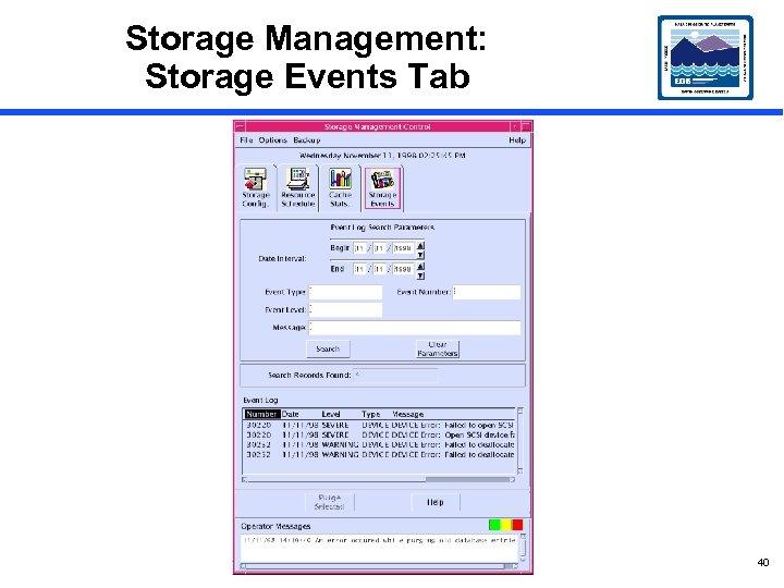 Storage Management: Storage Events Tab 40