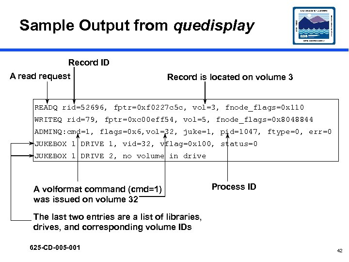 Sample Output from quedisplay Record ID A read request Record is located on volume