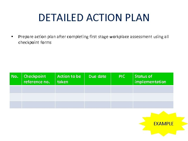 DETAILED ACTION PLAN • No. Prepare action plan after completing first stage workplace assessment