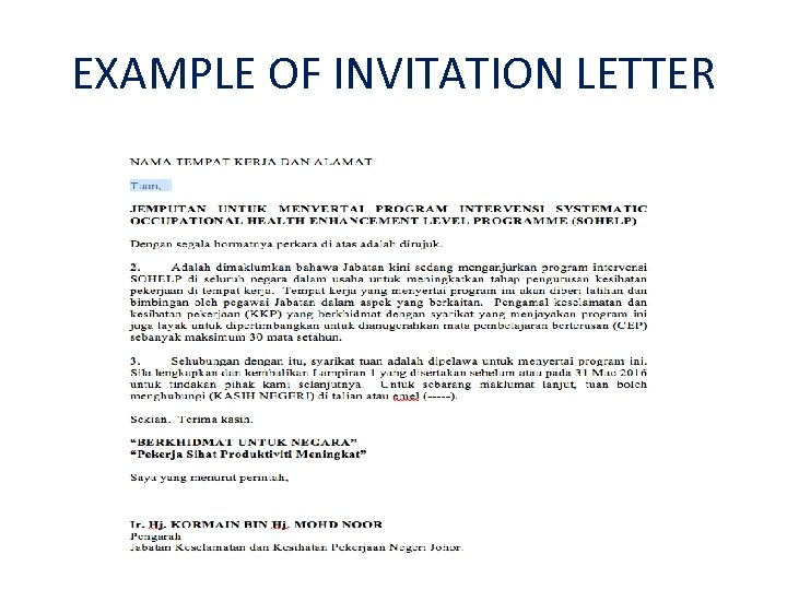 EXAMPLE OF INVITATION LETTER