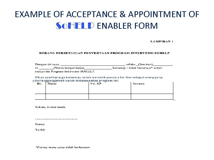 EXAMPLE OF ACCEPTANCE & APPOINTMENT OF So. HELP ENABLER FORM