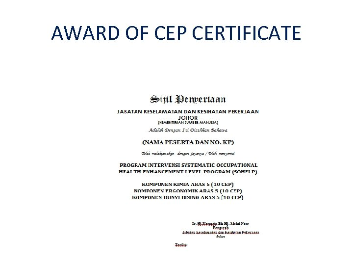 AWARD OF CEP CERTIFICATE