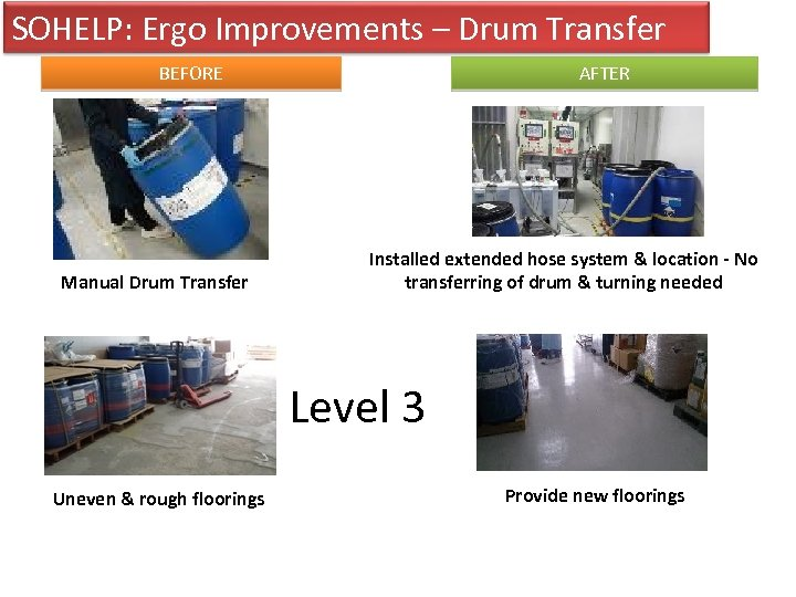 SOHELP: Ergo Improvements – Drum Transfer BEFORE Manual Drum Transfer AFTER Installed extended hose