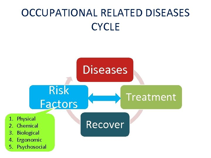 OCCUPATIONAL RELATED DISEASES CYCLE Diseases Risk Factors 1. 2. 3. 4. 5. Physical Chemical