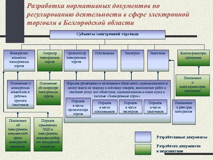 Разработка нормативных документов по регулированию деятельности в сфере электронной торговли в Белгородской области Субъекты