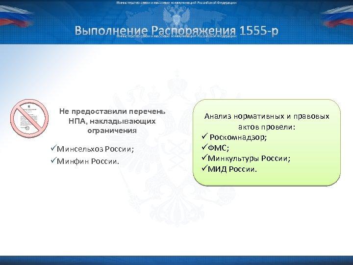 Министерство связи и массовых коммуникаций Российской Федерации Выполнение Распоряжения 1555 -р Министерство связи и