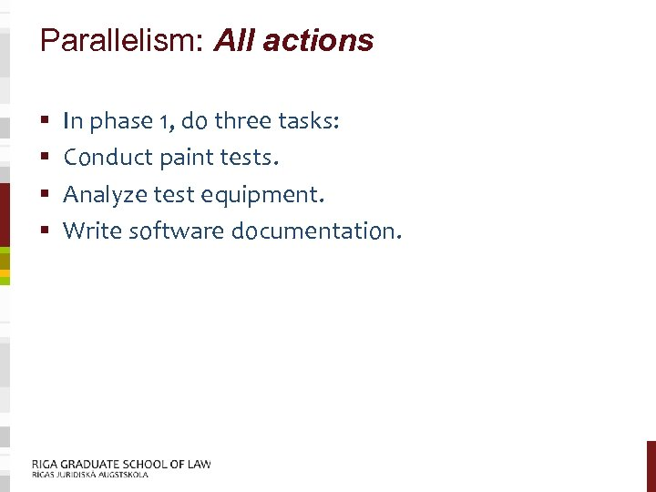 Parallelism: All actions § § In phase 1, do three tasks: Conduct paint tests.
