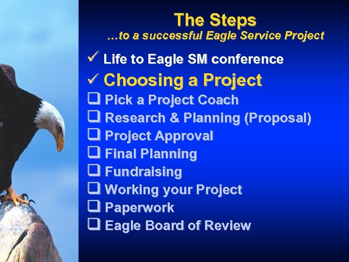 The Steps …to a successful Eagle Service Project ü Life to Eagle SM conference