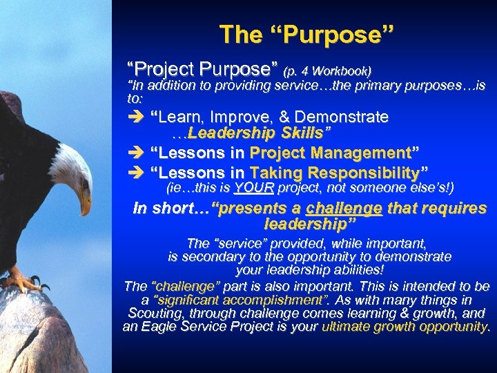 """The """"Purpose"""" """"Project Purpose"""" (p. 4 Workbook) """"In addition to providing service…the primary purposes…is"""
