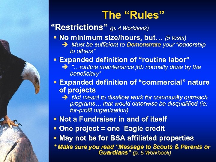 """The """"Rules"""" """"Restrictions"""" (p. 4 Workbook) § No minimum size/hours, but… (5 tests) è"""