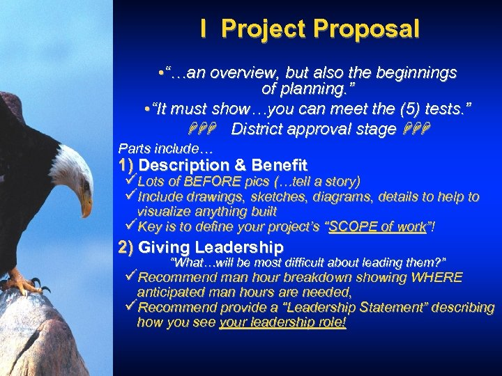 """I Project Proposal • """"…an overview, but also the beginnings of planning. """" •"""