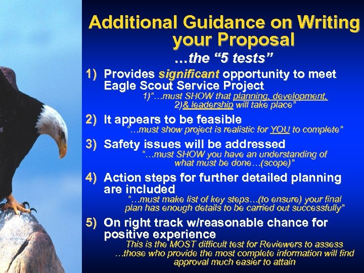 """Additional Guidance on Writing your Proposal …the """" 5 tests"""" 1) Provides significant opportunity"""