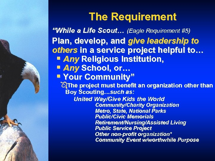 """The Requirement """"While a Life Scout… (Eagle Requirement #5) Plan, develop, and give leadership"""