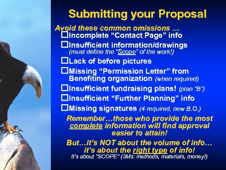 """Submitting your Proposal Avoid these common omissions … o. Incomplete """"Contact Page"""" info o."""