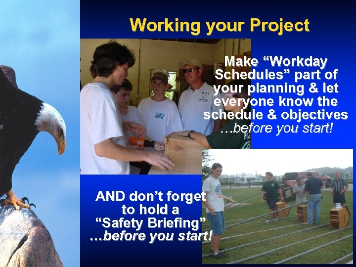 """Working your Project Make """"Workday Schedules"""" part of your planning & let everyone know"""