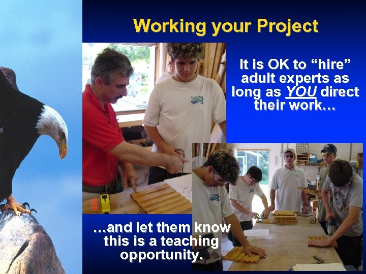 """Working your Project It is OK to """"hire"""" adult experts as long as YOU"""